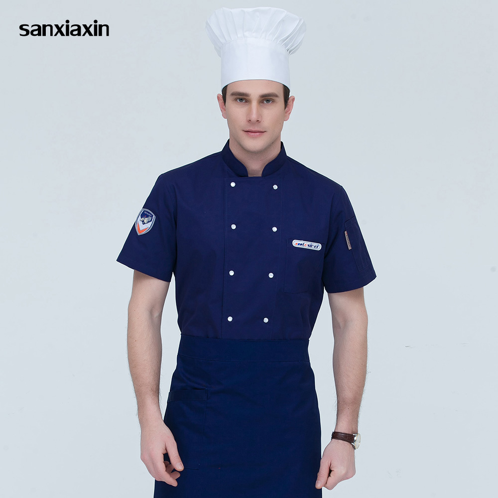 Short Sleeved Restaurant Catering Uniforms Food Service Double-breasted Chef Jacket High Quality Hotel Kitchen Work Clothes Men