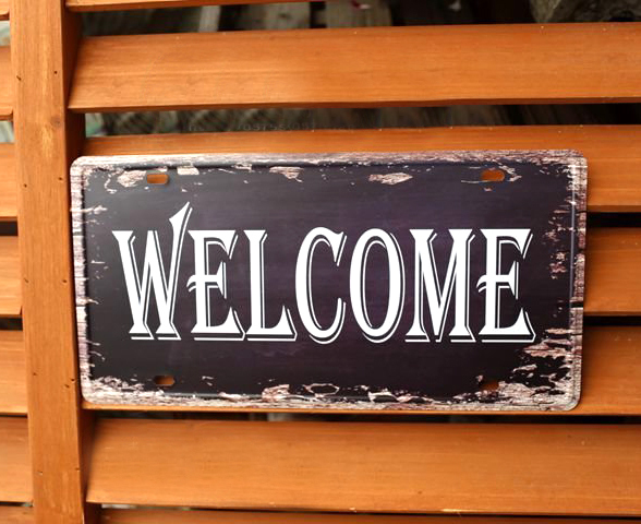 New Arrival Vintage Tin Sign Retro Decoration Metal Painting Welcome Doorplate plaque pu ...