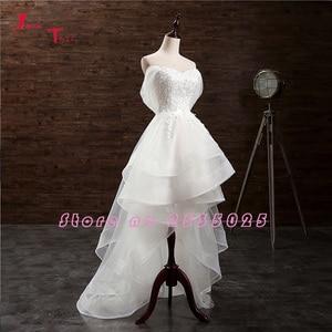 Image 2 - Jark Tozr Custom Made küçük beyaz elbiseler Vestido De Casamento aplikler yüksek düşük gelinlik çin Online alışveriş Trouwjurk