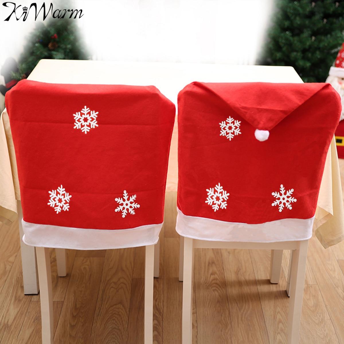 1pcs 50x67cm Christmas Chair Cover Santa Claus Snowflake