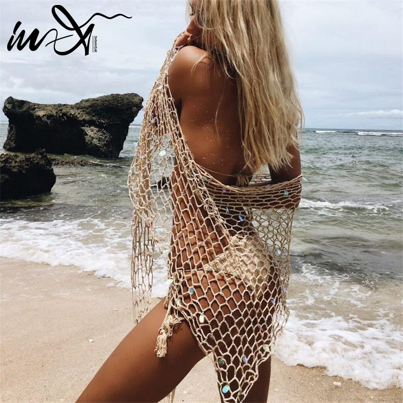 In-X Sexy fishnet swimsuit female beach dress Summer 2019 beach wear See through cover-ups Mesh crochet swimwear Solid cover up