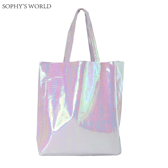 Hologram Women Shoulder Bags Silver Color Crocodile Leather Handbag Female  Large Shopper Bags Casual Tote Bag Bolsa Feminino