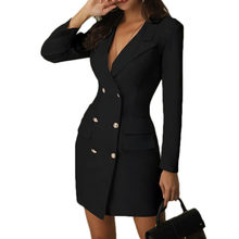 White Black ladies blazer dress Women blazers suit winter Sexy long sleeve party female double breasted blazer girl jacket 2019(China)