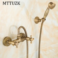 MTTUZK Antique Brass Shower Set Hot and Cold Mixer Double Handle Shower Wall Mounted Shower Set Free Shipping