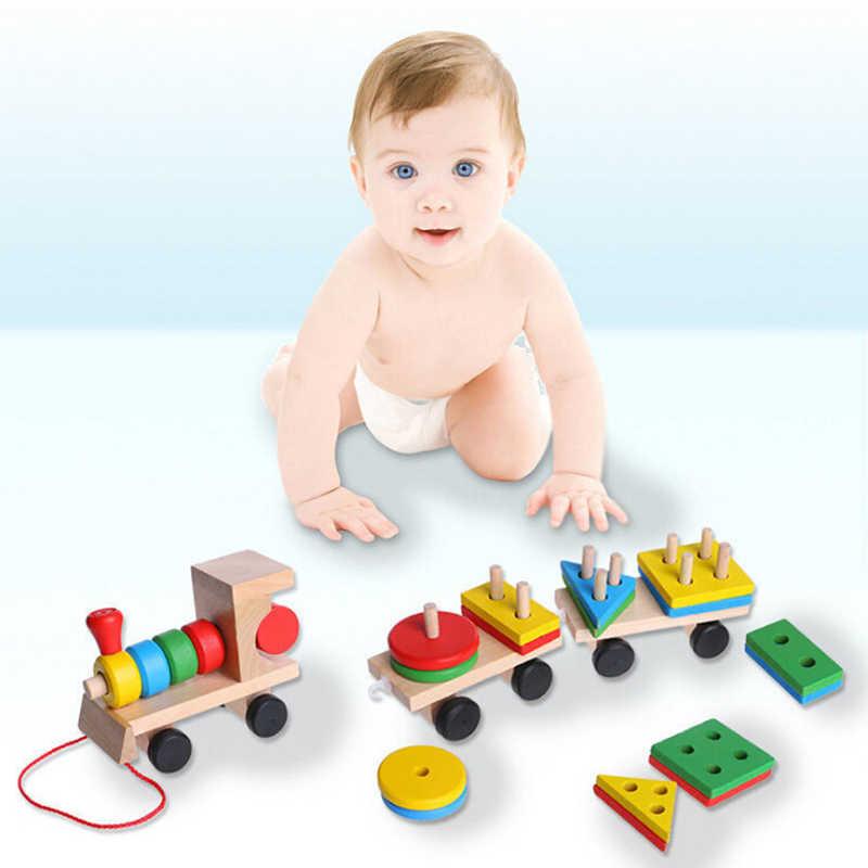 Новинка, 1 комплект, для детей, малышей, развивающие игрушки деревянный поезд грузовик набор геометрической формы блоков прекрасный подарок на день рождения развивающие игрушки