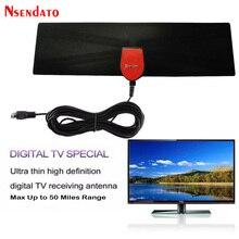 470-862MHz HDTV Digital Indoor& Outdoor Ultra Thin TV Antenna Receiver 1080 4K 25 Miles Range Amplified Signal Booster Reception