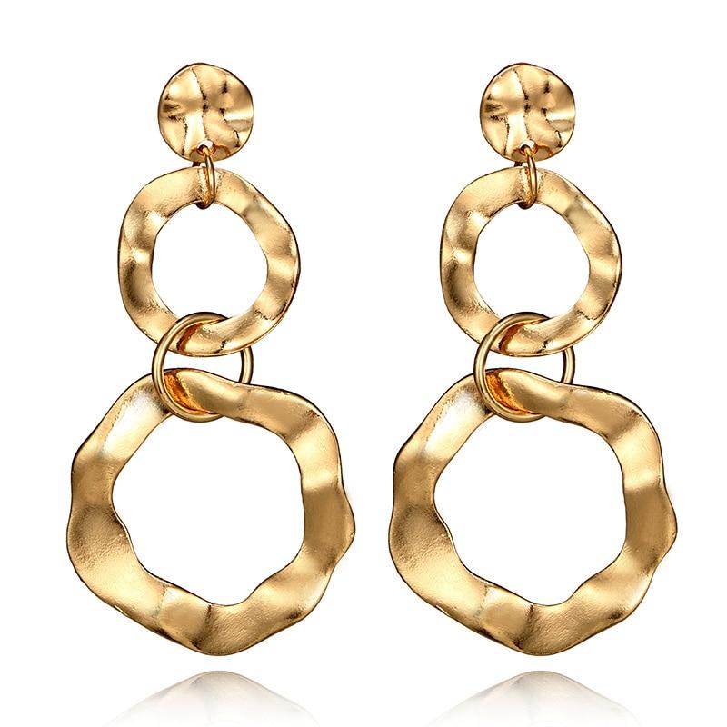 Personalized Punk Rock Style Fashion Geometric Large Drop Earrings For Women Boho Round Irregular Gold Silver Dangle Earring