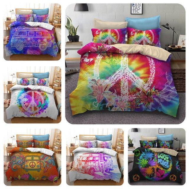 1236a9fb186a0 Hippie peace symbol Digital print Bedding Set Quilt Cover Design Bed Set  Bohemian a Mini Van Bedclothes 4pcs BE1228
