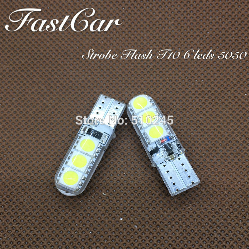 100x High quality car led Strobe flash flashing lamp 194 W5W 6SMD T10 wedge 5050 6 leds SMD white blue yellow green red