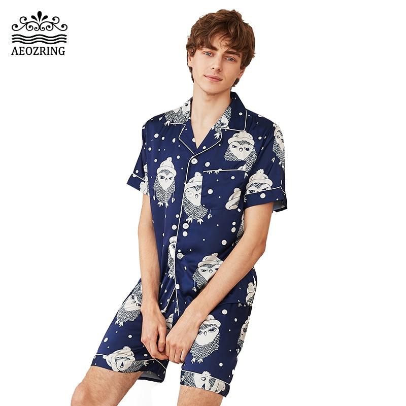 AEOZRING Pajamas Sexy Lingerie Silk Shorts Set Nightwear Couple Set Sleeved Sleepwears suit Men Women Ladies night Lingerie in Sleep Tops from Underwear Sleepwears