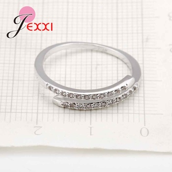 Nice Simple Design 925 Sterling Silver Jewelry Adjustable Ring White Shiny Rhinestone Crystal Ring For Ladies Female 4