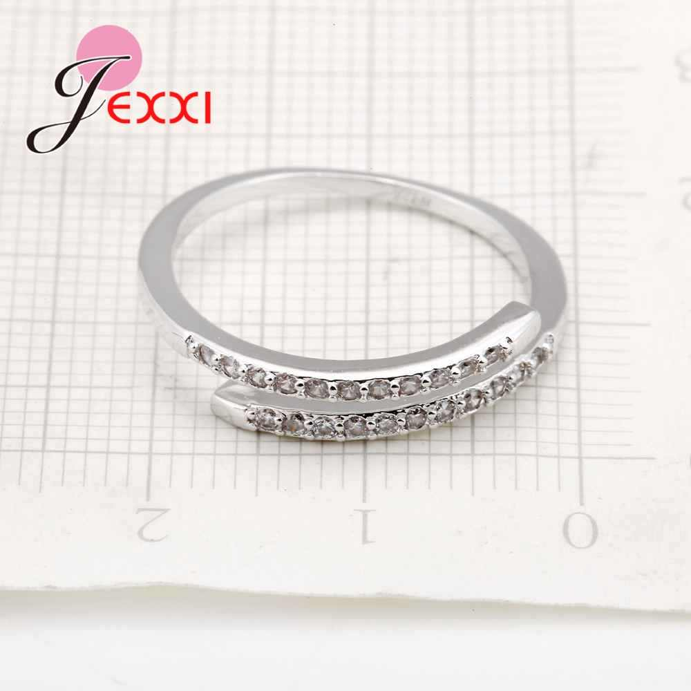 Nice Simple Design 925 Sterling Silver Jewelry Adjustable Ring White Shiny Rhinestone Crystal Ring For Ladies Female