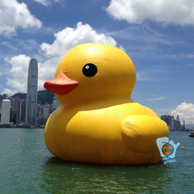16ft 5in Height Outdoor Giant Hongkong Inflatable Promotion Yellow Rubber  Duck Floats For Water Ground Decoration