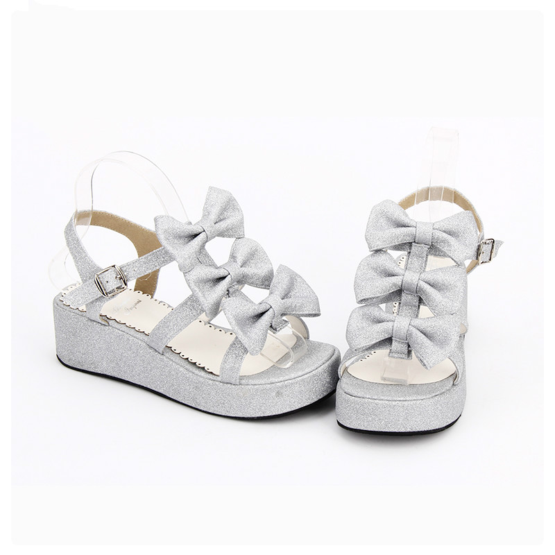 Princess sweet lolita shoes Lolita sweet round head sandals princess butterfly and sandals Low slope and shoes women pu8512 босоножки sweet shoes sweet shoes sw010awtbr38