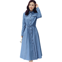 Jean Dress Spring Women 2017 Single Breasted Long Sleeve Shirt Thin Dress Drawstring Waist Denim Long