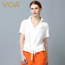 VOA European fashion sashes Silk crepe shirts Stand Collar Short Sleeve Women blouse B6100