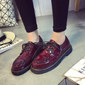 2016 Spring Round Toe Flats Patent Leather Brogue Women Shoes Casual Platform Low-Heeled Lace-Up Shoes British Style Size US 8