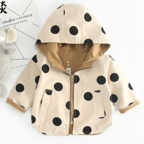 Baby Girls Jacket and Coat Spring Hooded Boys Windbreaker Jacket Polka Dot 2 Sides Wear Toddler Kids Jacket Outerwear Clothes Pakistan