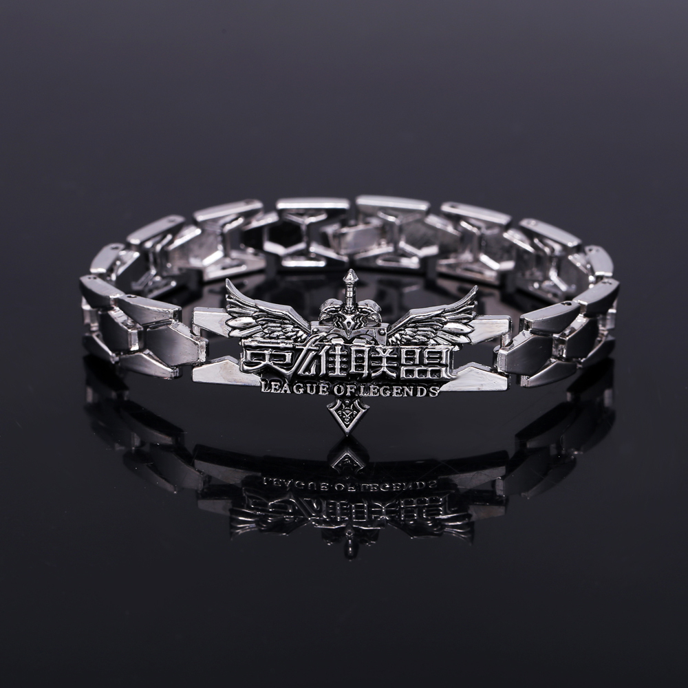 <font><b>Cosplay</b></font> Accessories New Game <font><b>League</b></font> <font><b>of</b></font> <font><b>Legends</b></font> LOL Zinc Alloy Bracelet For <font><b>Men</b></font> Gifts Fashion Bracelet Silver Bangle image