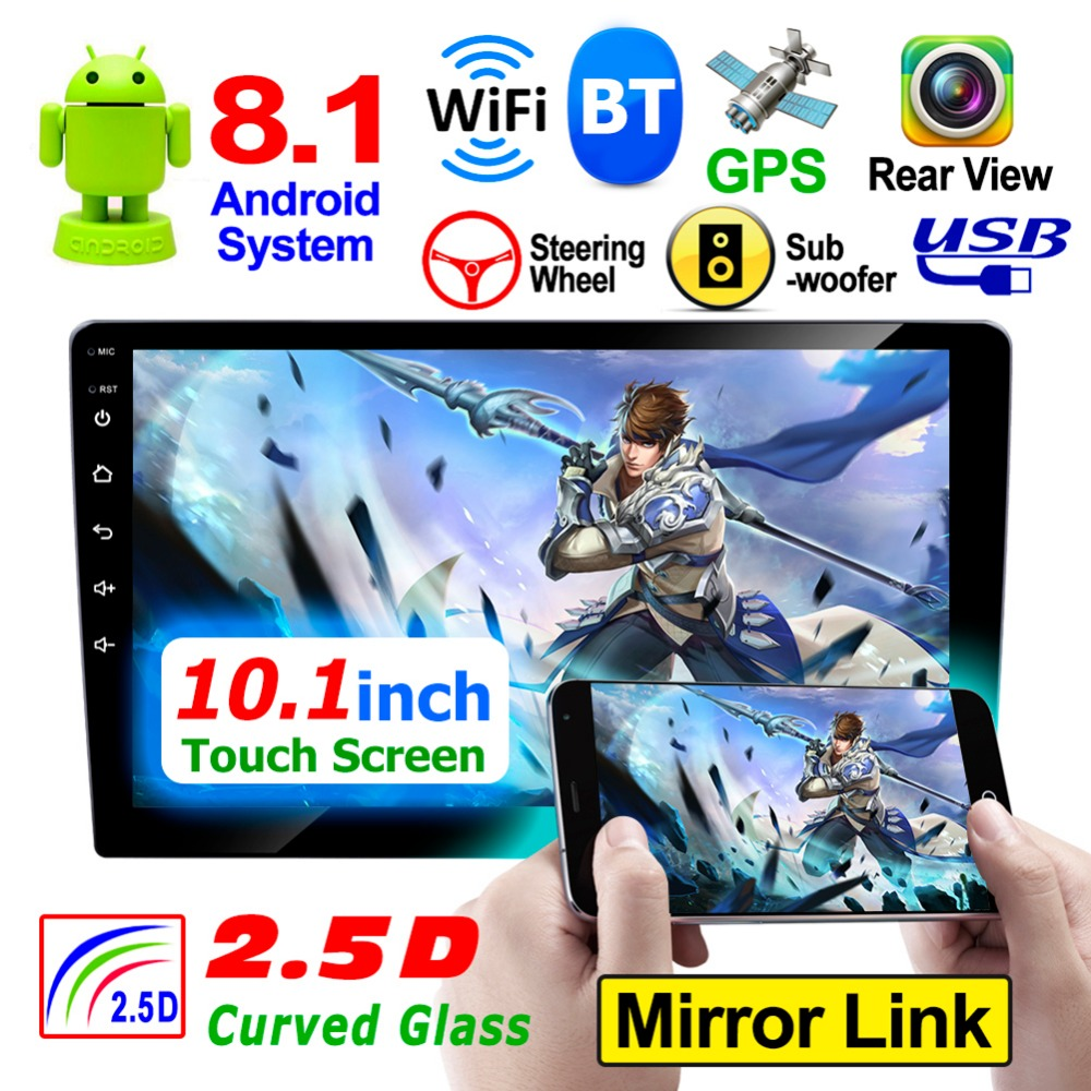 Android 8.1 Car Stereo Radio Bluetooth 2 Din 10.1 inch Touch Screen WiFi Audio Autoradio Support FM/MP5/AUX Rear View Camera