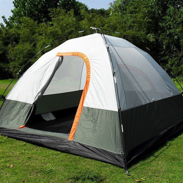 Three Person 200*200*130cm Double Layer Weather Resistant Outdoor Camping Tent for Fishing, Hunting Adventure and Family Party