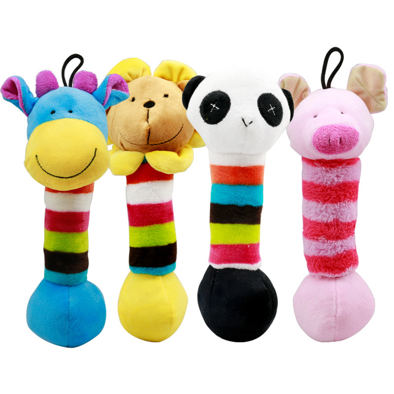 Cute Pet Dog Toys Chew Squeaker Cartoon Animals Sound Plush Puppy Bite Resistant Training Toy For Small Dogs Pet Supplies 30 cm