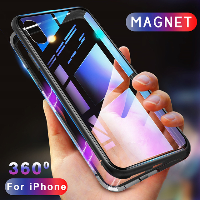 Magnet Flip Case for iPhone XS Xs MAX XR Metal X 10 Tempered Glass Back Magneitc Adsorption Case Cover for iPhone 8 7 6 6s Plus
