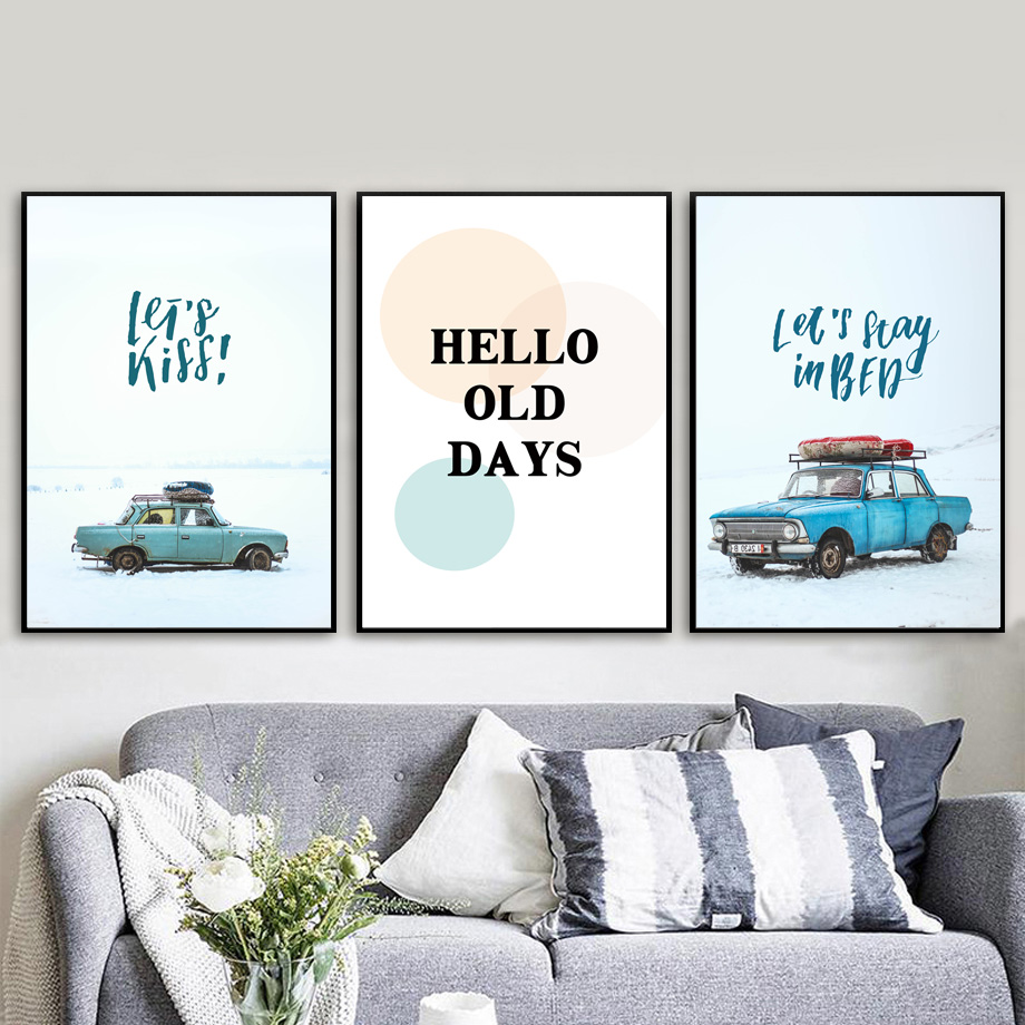 Car Gas Station Snow Mountain Landscape Wall Art Canvas Painting Nordic Posters And Prints Wall Pictures For Living Room Decor in Painting Calligraphy from Home Garden