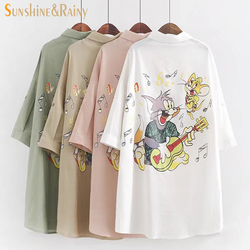 Hot women college wind cartoon girls printed winter autumn pattern collar shirt tops cotton sun protect.jpg 250x250