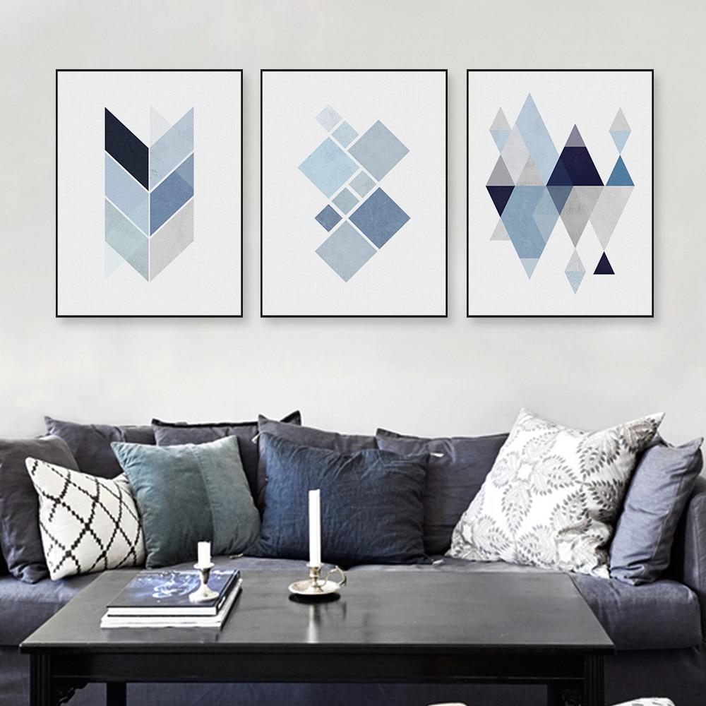 Abatract Blue Geometric Shape Canvas Art Print Poster