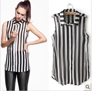 Women Girls Black And White Stripe Sleeveless Blouse Sheer Chiffon ...