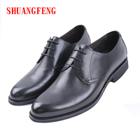 SHUANGFENG 2018 Hot Sale Business Casual Shoes Men Footwear Lace up Genuine Leather Men Shoes Classic Black Shoes for Male