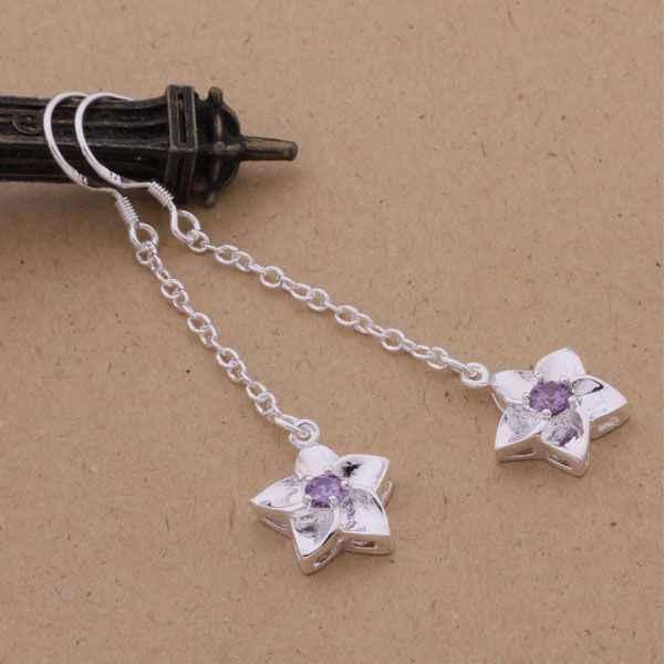 AE181 Hot 925 sterling silver earrings , 925 silver fashion jewelry , five-pointed star inlaid purple stone /cbgaksna aloajcva
