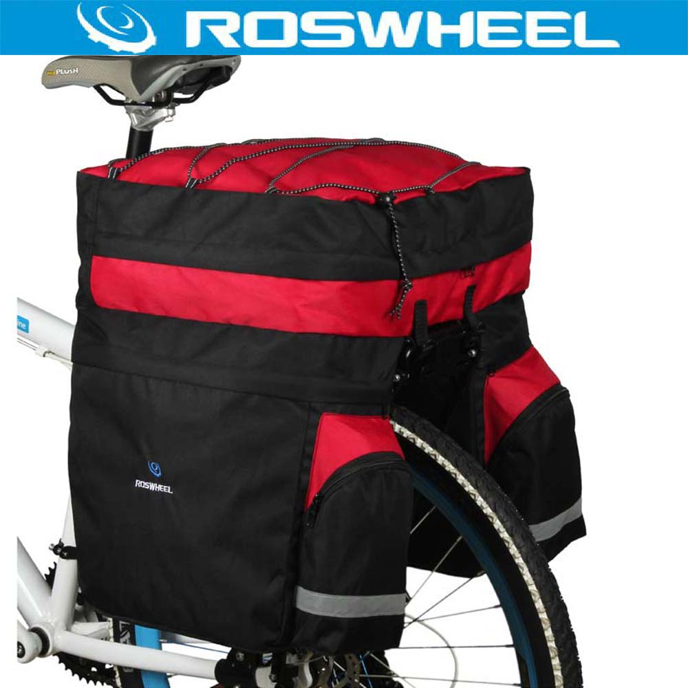 ROSWHEEL 60L Waterproof Mountain Road Bicycle Bike Bag Cycling Double Side Rear Rack Tail Seat Trunk Carrier Pannier Rain Cover coolchange reflective bike bicycle rear seat trunk bag cycling carrier bag rack panniers waterproof with rain cover page 2