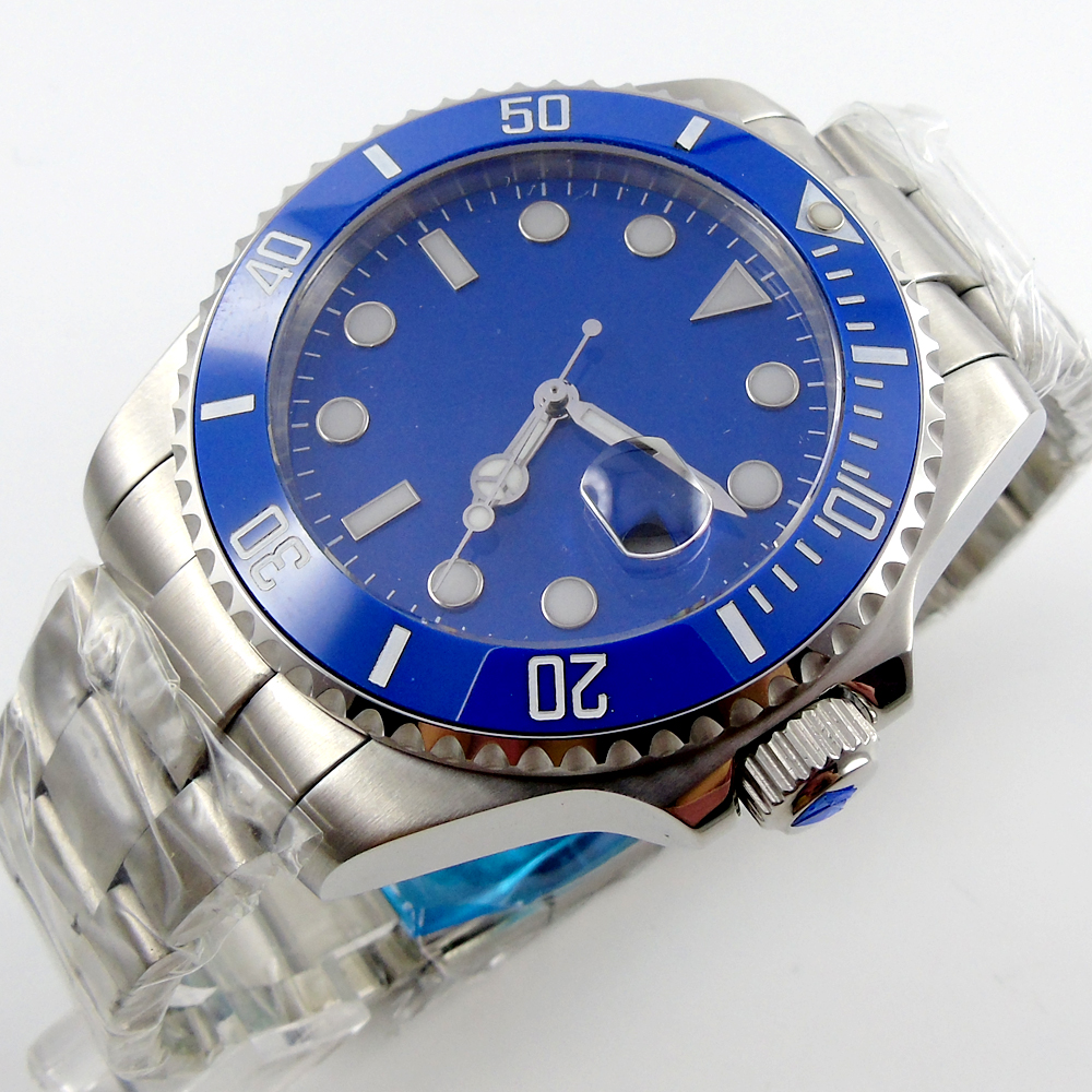 43mm BLIGER blue dial blue ceramic bezel sapphire crystal automatic mens watch P4
