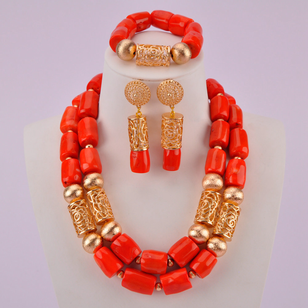 Orange Coral Beads Jewelry Set Nigerian Wedding African Necklace Costume Jewelry Sets for Women CJS10Orange Coral Beads Jewelry Set Nigerian Wedding African Necklace Costume Jewelry Sets for Women CJS10