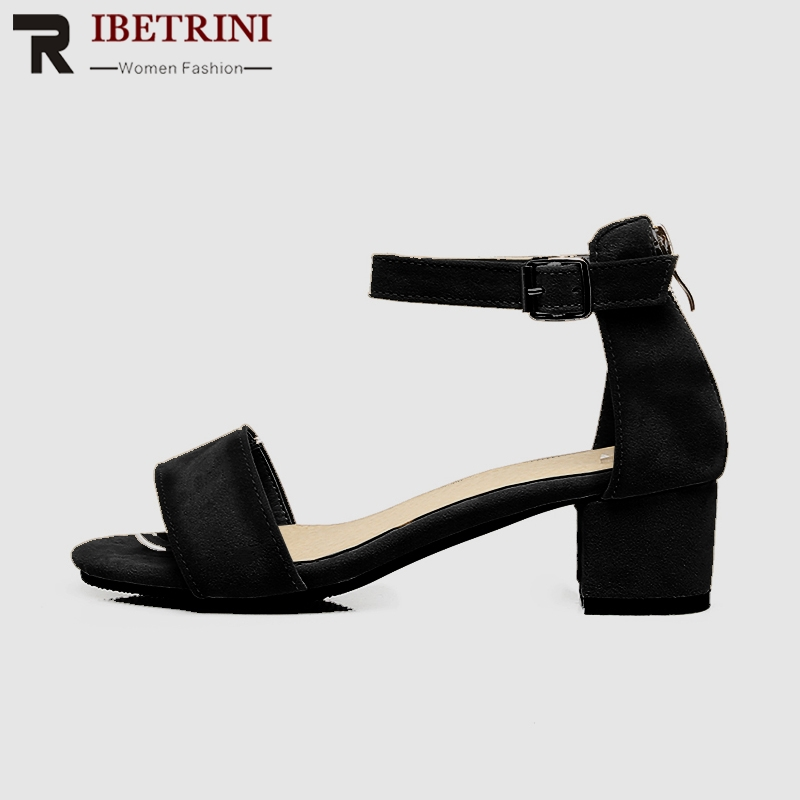 RIBETRINI Plus Size 30 50 Elegant Wide Strap Summer Sandals Women Lovely Shallow Med Heels Shoes Woman Concise Date Footwear