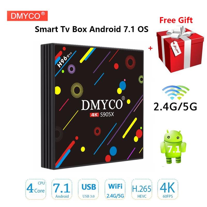 Mini Smart TV Box Android 7.1 H96 Pro Amlogic S905X Quad Core 2.4G/5G Dual WIFI USB3.0 Bluetooth 4.1 1080p 4k player Set Top Box new t95n mini m8s pro android 6 0 tv box s905x quad core bluetooth wifi 16 0 2g 8g memory smart set top box emmc ddr3