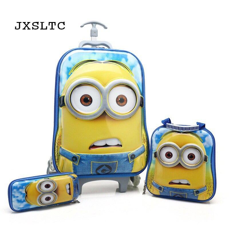 JXSLTC 2018 Childrens School Bags Trolley 3PCS/set  Cartoon Students Kids Climb Stairs Luggage Backpack Child Pencil Box Gift