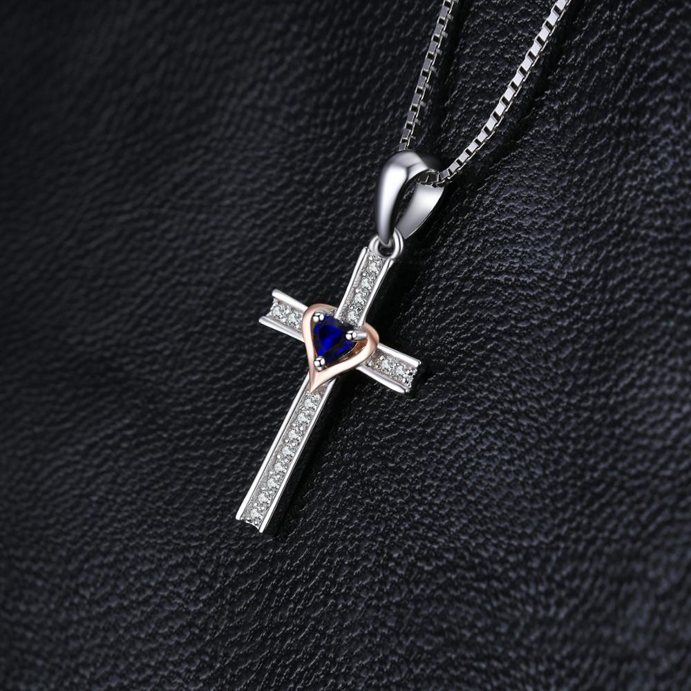 Cross Heart Created Blue Sapphire Pendant Necklace 925 Sterling Silver Gemstones Choker Statement Necklace Women No Chain