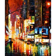 Decoration oil painting times square modern landscape art canvas wall pictures for living room