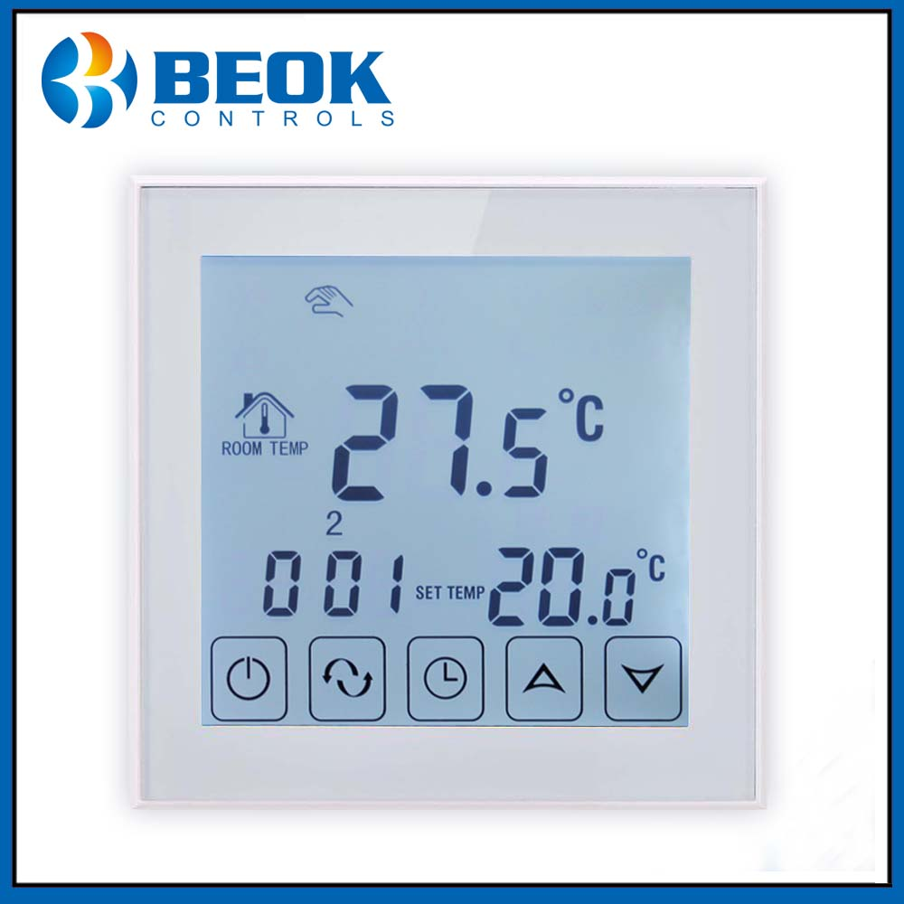 Beok Electric Room Thermostat with White backlight Floor Heating Thermoregulator Touch Screen Temperature Controller
