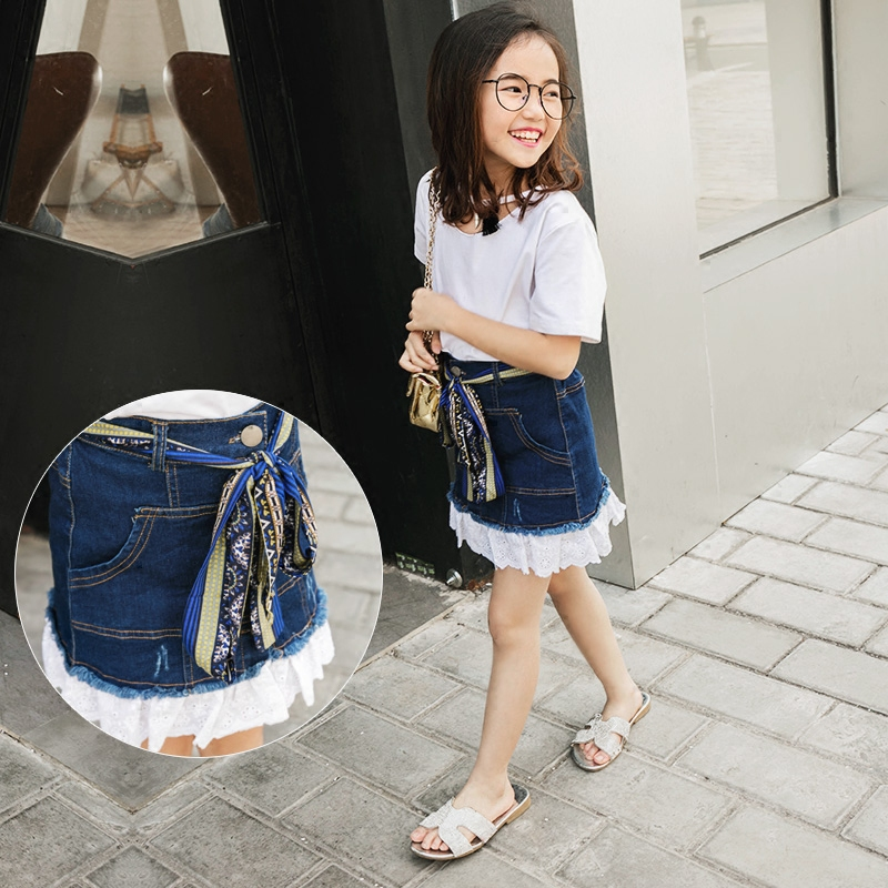 2017 Summer Girl Denim Skirt Lace Hem Designs Children Washed Belt Waist Jeans Skirt Big Kids Jeans Clothes 12 14 16 Years Girl luxury artistic towel bar single towel holder wall mounted bathroom towel rail rod oil rubbed bronze finish