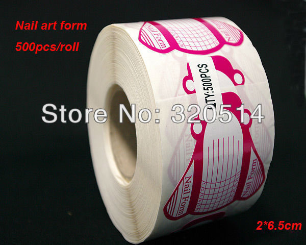 500pcs/roll Professional Nail Art Tips Extension Rose red Nail Forms Guide French tools for UV Gel&Acrylic Nails