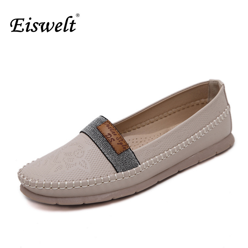 Eiswelt 2017 Hot Sale Women Shoes Spring Ballet Flats Platform Loafers Slip On Casual Shoes Round Toe Comfort Women Flats#EGMJ75 xiaying smile woman flats women brogue shoes loafers spring summer casual slip on round toe rubber new black white women shoes