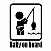 все цены на 11*15.2CM BABY ON BOARD Fishing Fashion Vinyl Car Styling Stickers and Decals Funny Auto Rear Window Bumper Decoration онлайн
