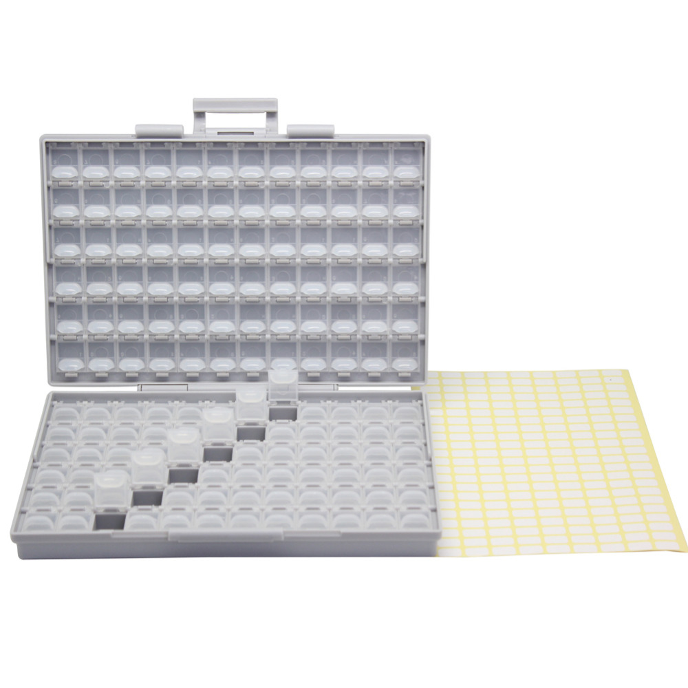 AideTek SMD Resistor Capacitor Storage Box Organizer 0603 0402 BOXALL144 UK DE USA Ship plastic part box lables BOXALL aidetek 2 box esd safe smd ic box w 144 bins anti statics smd smt organizer transistor diode plastic part box lable 2boxallas