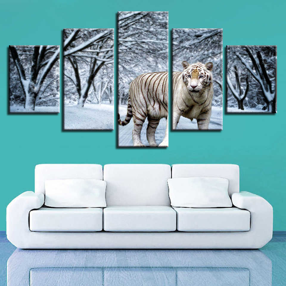 Canvas HD Prints Pictures Home Wall Art Framework 5 Pieces Snow Forest  Animal Tiger Paintings Living Room Decor Modular Poster