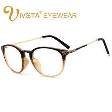 4d81c106af IVSTA Vintage clásico mujer gafas óptico marcos Metal gato ojo claro lente  diseño de grano de madera Color progresivo miopía