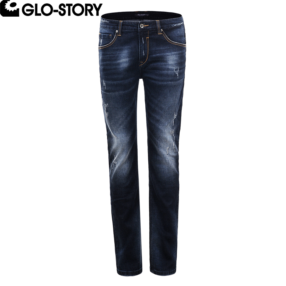GLO-STORY Mens Full-length Distressed Ripped Jeans Men Cotton Streetwear Casual Fashion Straight Denim Pants MNK-5099